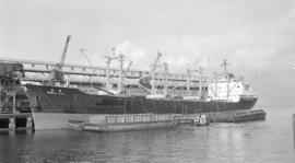 S.S. World Fuji [at dock, with barges alongside]