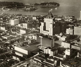 [Model of proposed civic auditorium, theatre and C.B.C. building superimposed onto an aerial view...