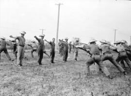 [Men training with bayonets]