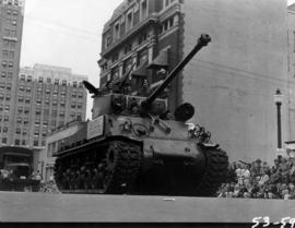 Canadian 13th armored reserve force tank in 1953 P.N.E. Opening Day Parade