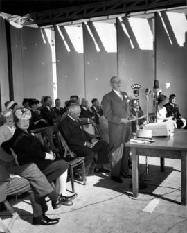 Lieutenant Governor C.A. Banks speaking at 1947 P.N.E. opening ceremonies