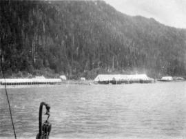[View of] North Pacific Cannery [from the water]