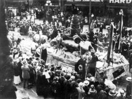[The Wood, Vallance and Leggat float in the 600 Block of Granville Street during a Victoria Day p...