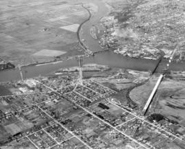 [View of Oak Street, Marpole rail and highway and Middle Arm bridges]