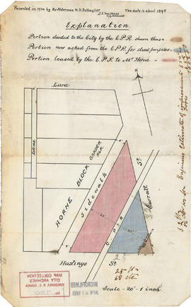[Map of Pioneer Place showing the area deeded to the City of Vancouver by the C.P.R.]