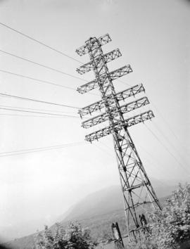 B.C. Electric sub-station and electric towers at Second Narrows Bridge