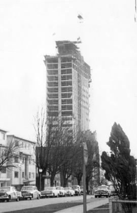 [View of the B.C. Hydro Building - 970 Burrard Street under construction from Thurlow Street]