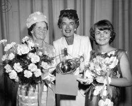 Alderman M. Linnell presenting awards to winners in 1964 P.N.E. Home Arts competition