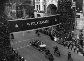 [King George VI and Queen Elizabeth's motorcade travelling south on Burrard Street approachi...