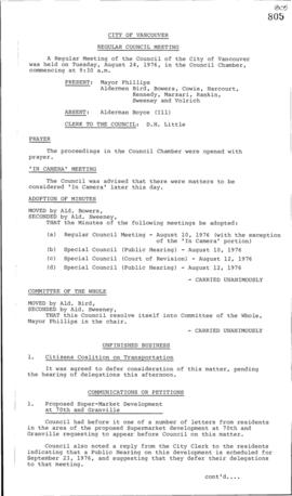 Council Meeting Minutes : Aug. 24, 1976