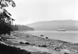 "[C.P.R. ship ""Empress of Canada"" passing through First Narrows of Burrard Inlet]"