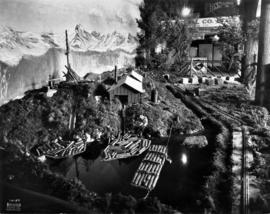 Exhibit with model of logging operation