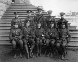 Captain Davy (centre front row) with officers of cadet corps