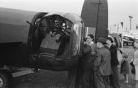 [Rear gun turret on a Lancaster bomber]