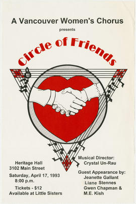 A Vancouver Women's Chorus presents Circle of Friends : Heritage Hall, 3102 Main Street : Sa...
