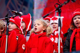 Children's choir sings at Whistler's Community Celebration in British Columbia