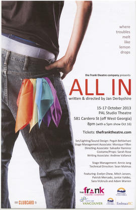The Frank Theatre Company presents All In : written and directed by Jan Derbyshire : 15-17 Octobe...