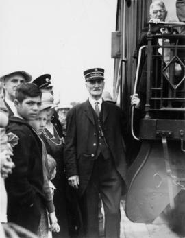 Peter Barnhart, conductor, first train, July 4th 1886, at Coquitlam, July 3rd 1936