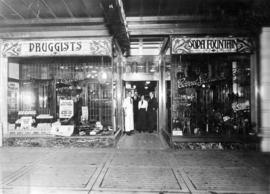 [Exterior of Burns and Cairns Druggists and Soda Fountain Store at 732 Granville Street]