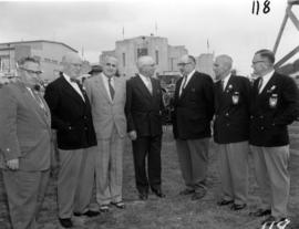 Group of dignitaries and P.N.E. directors, including P.N.E. President J.S.C. Moffitt, Washington ...