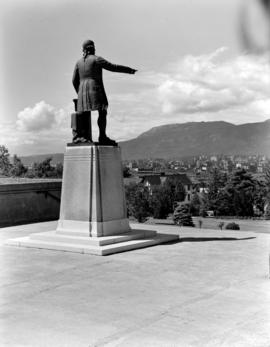 [View of Vancouver taken from City Hall behind the statue of George Vancouver looking northwest]
