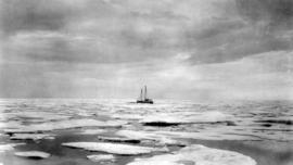 "[R.C.M.P. ""St. Roch"" sailing through ice floes]"