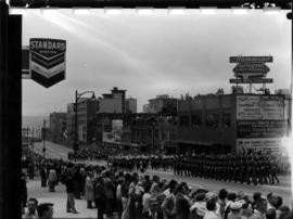 Armed forces marching in 1959 P.N.E. Opening Day Parade