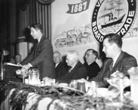 [Harold Merilees, Chairman speaking at the 60th anniversary of the Vancouver Board of Trade]
