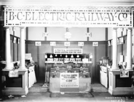 [Exhibition booth display of B.C. Electric Railway Co. electrically powered appliances]