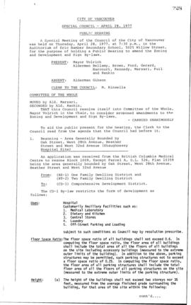 Special Council Meeting Minutes : Apr. 28, 1977