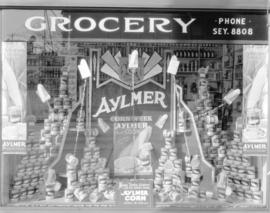 Brown's Grocery Aylmer [canned vegetable] display