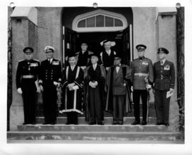 University of British Columbia honorary degree recipients and officials, with honour guard