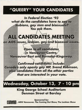"""Queery"" your candidates : [federal election] all candidates meeting on AIDS issues, le..."