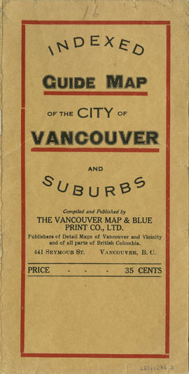 Indexed guide map of the city of Vancouver and suburbs : map booklet front cover