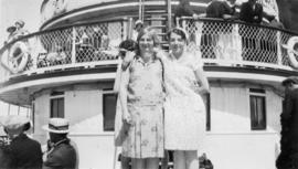 Cathleen Cooke (Kenrick) and {?} Woodward (Chalmers) on Bowen Island ferry on way to picnic