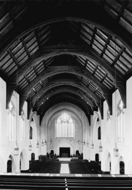 The nave, showing open timber truss roof