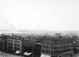 [View of the east side of the 600 Block Granville Street from the Hotel Vancouver]