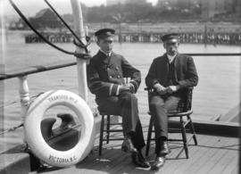 Carl and Captain on barge [Transfer No. 2 - Victoria, B.C.]