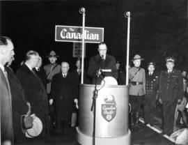 "[Chief Justice Sloan speaks before the departure of C.P.R. ""The Canadian""]"