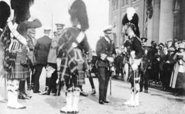 [H.R.H. The Prince of Wales speaking to a Seaforth Highlander outside the C.P.R. Station]