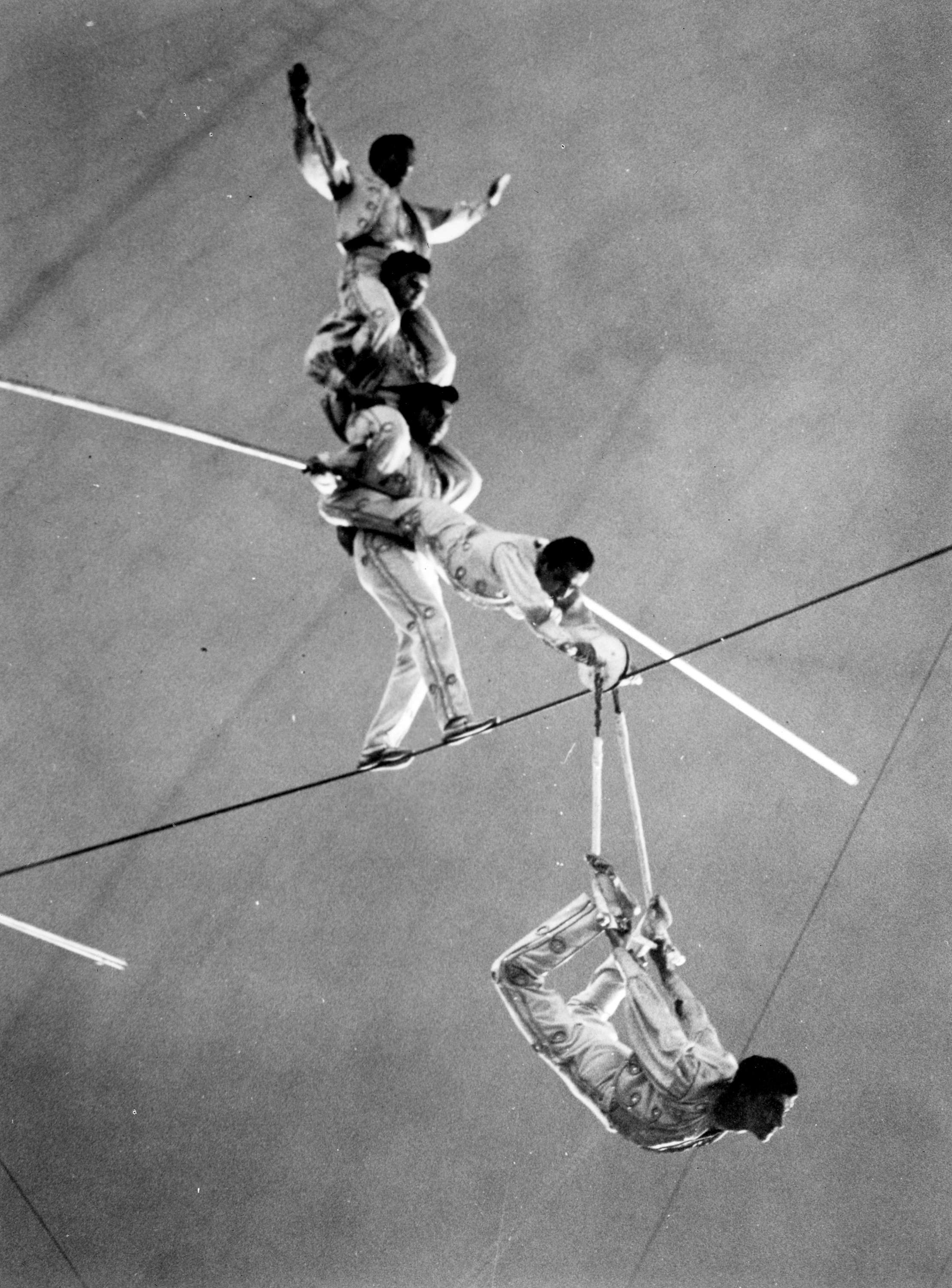 Acrobats performing high wire act in circus performance in Agrodome ...