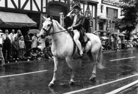 Man dressed as Captain J. Cook on horseback