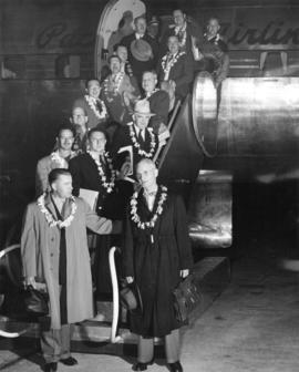 "[Official party returning from Canadian Pacific Airlines pre-inaugural flight of the ""Empres..."