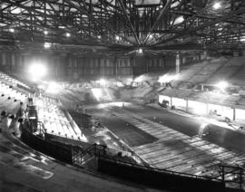 Construction of inside of Pacific Coliseum building envelope