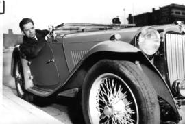 Jean de Rimanoczy in his sports car