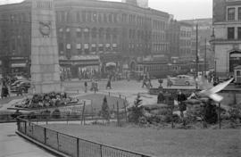 [The cenotaph at the corner of Hastings Street and Cambie Street]