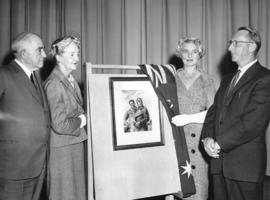 [Miss Florence Fyfe-Smith unveils a copy of a painting of Sir Charles Kingsford-Smith and Captain...