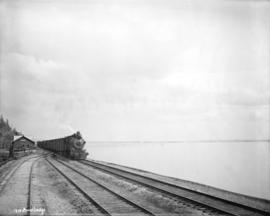 [Train at station along beach in White Rock]