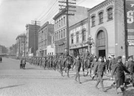 29th Battalion and Yukon Detachment [troops marching down Pender]