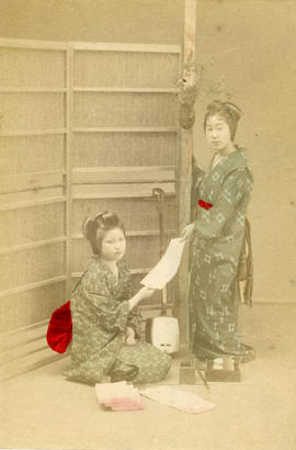 [Studio portrait of two women in formal Japanese dress]